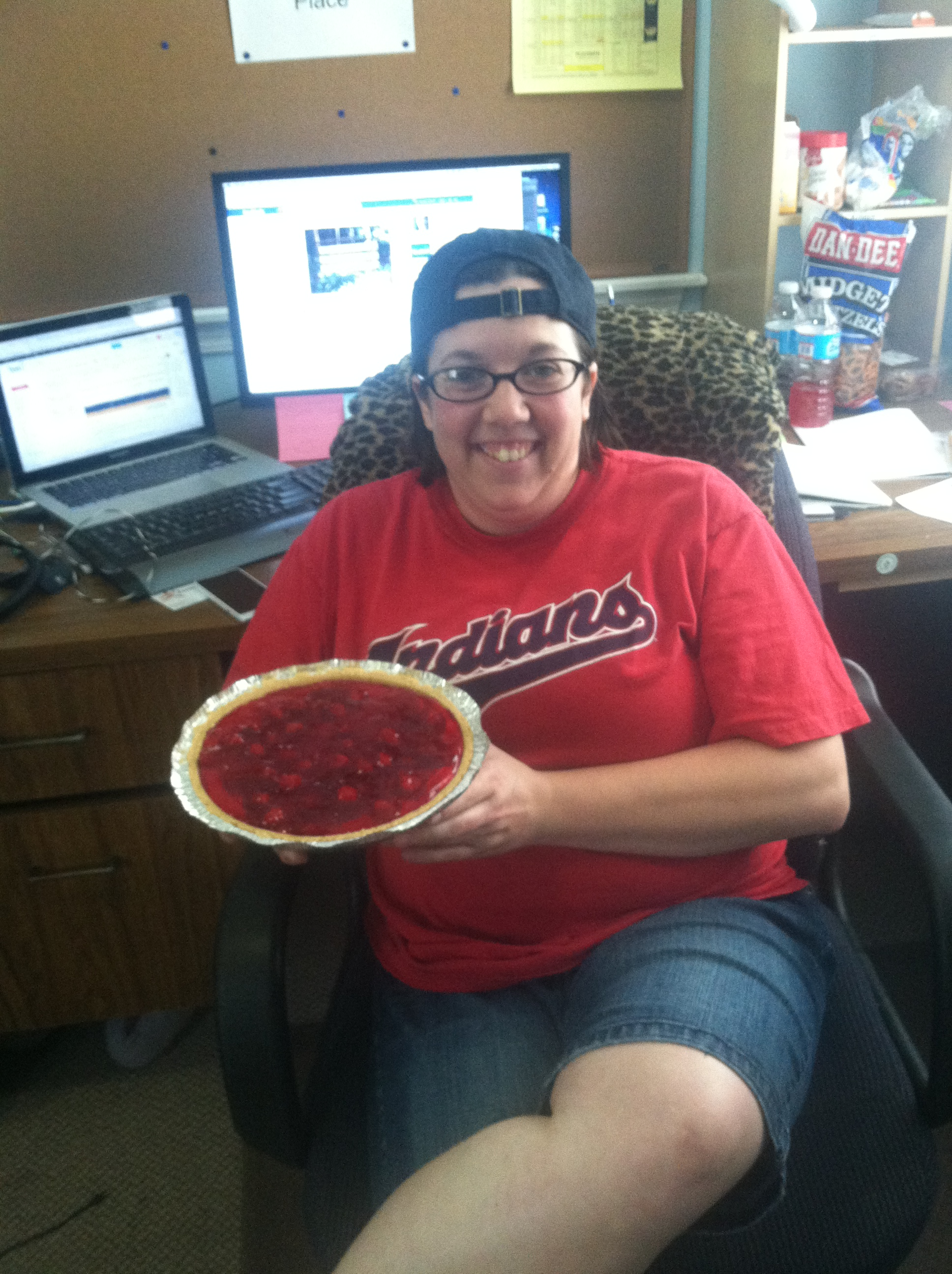 Stacey with Cherry Cheesecake