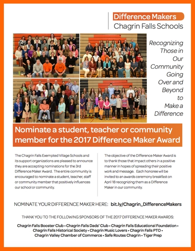 Chagrin Falls Schools is Now Accepting Nominations for the Difference Maker Award