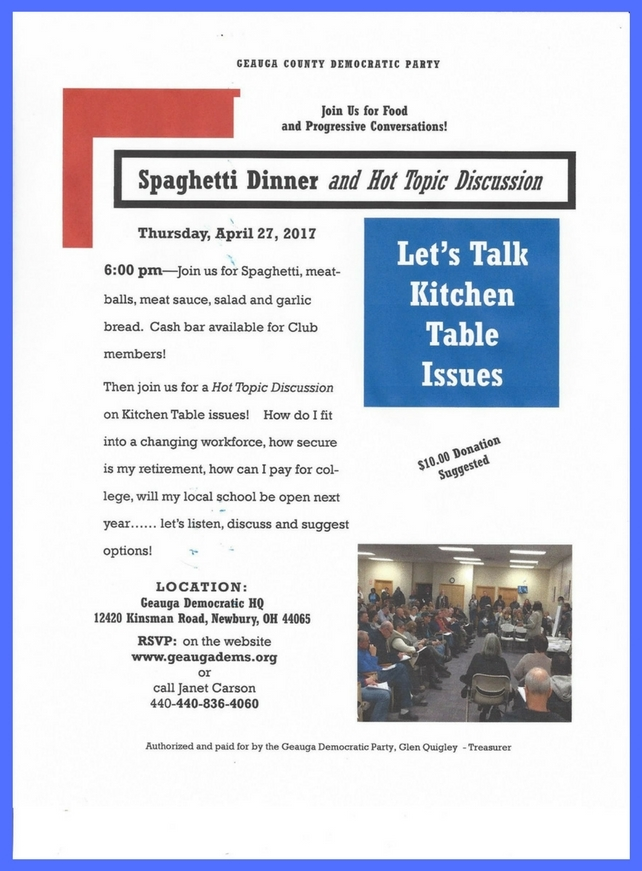Let's Talk Kitchen Table Issues and Spaghetti Dinner