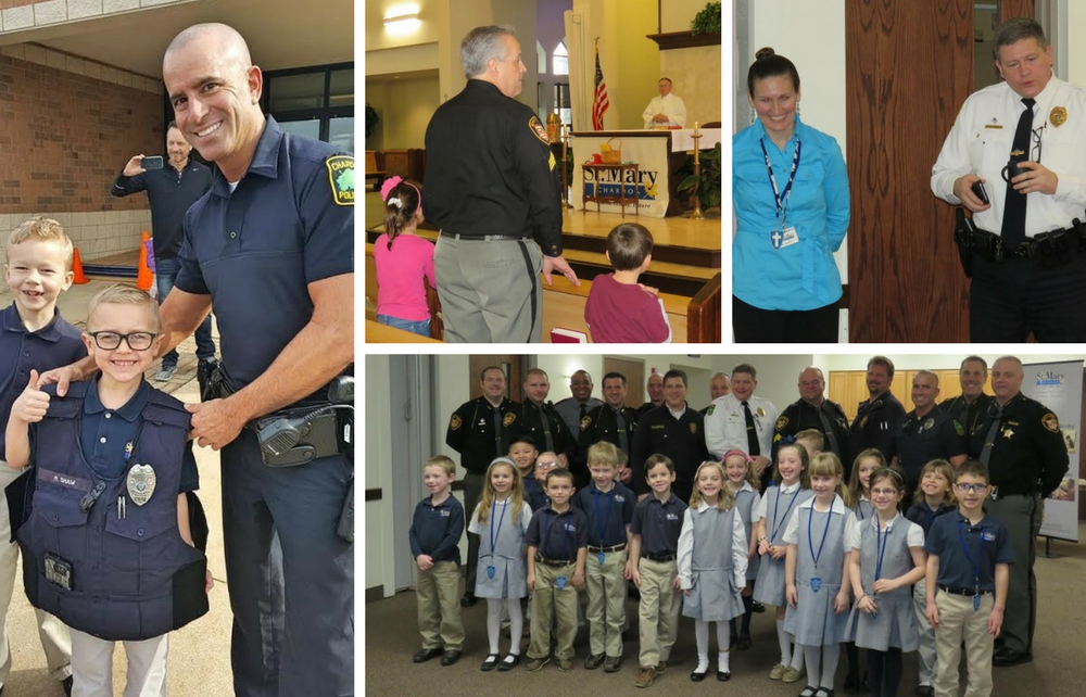 """St. Mary Chardon First Graders Host """"Blue Mass"""" in Honor of Local Heroes"""