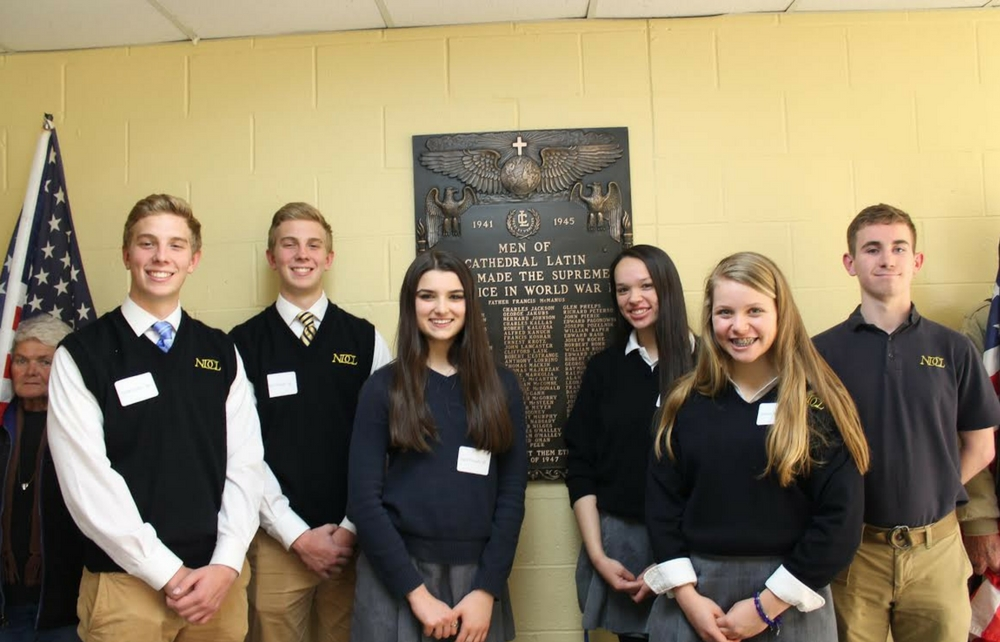 NDCL Students Join Blessing Ceremony of Refurbished World War II Plaque