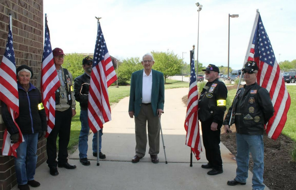 World War II Veteran Welcomed by NDCL Patriot Guard for Installation of World War II Plaque