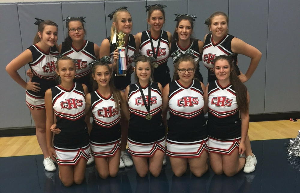 high school cheerleaders Varsity, 11th/12th squad members, earned 2nd place in cheer division, 1st place  in sideline division, as well as a 3rd place in rally routine junior varsity.