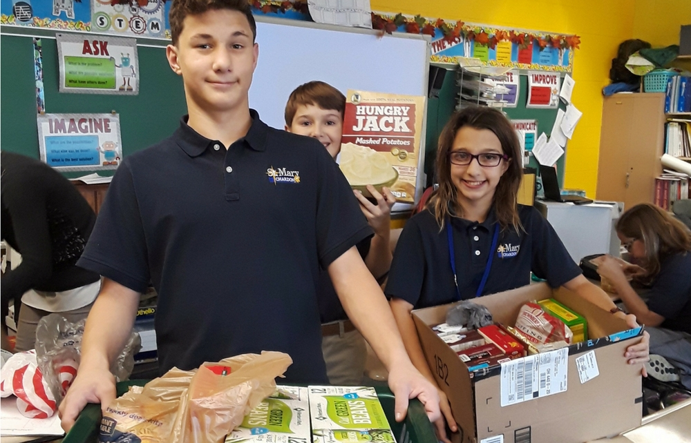St. Mary Student Council Hosts Successful Food Drive for St. Vincent De Paul