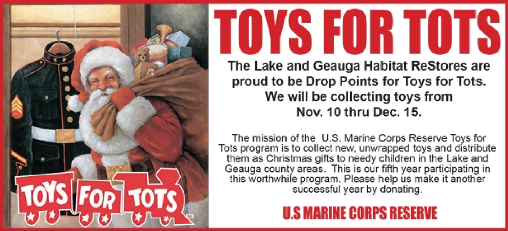 Lake-Geauga Habitat for Humanity/ReStores are Drop Points for Toys for Tots this Holiday Season!