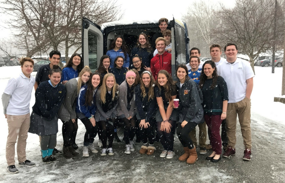 Notre Dame Cathedral Latin Students Students Share Warm Hearts on a Cold Day