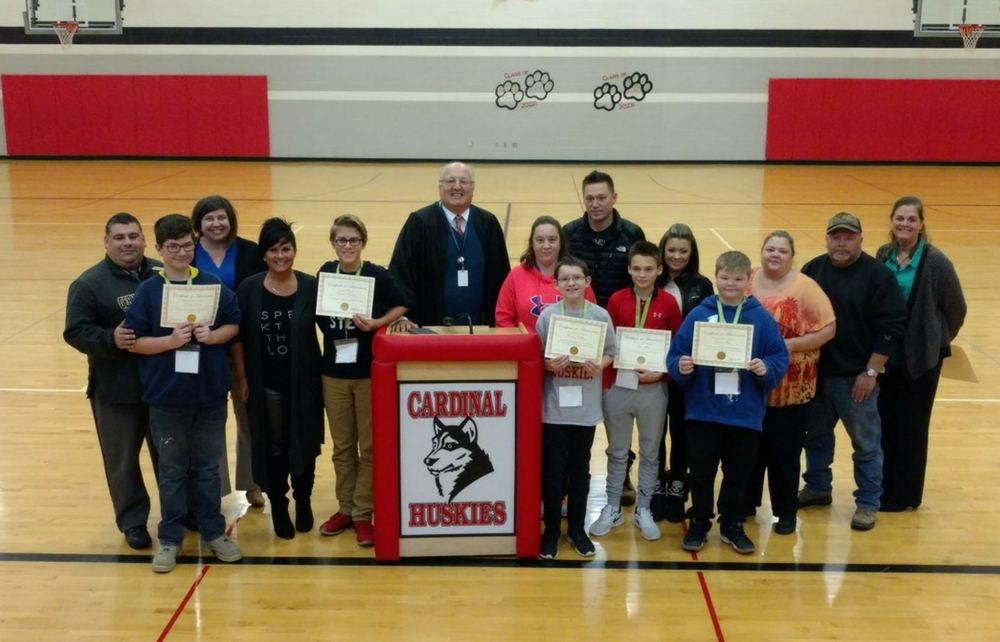Judge Grendell Recognizes Cardinal Middle School Students