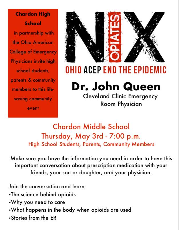 NIX Opioids Campaign comes to Chardon on May 3 - Geauga News