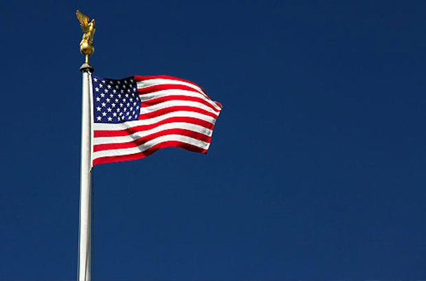 American Flag with Blue Skies