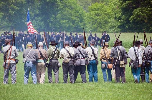 Civil War Encampment Soldiers on Battlefield