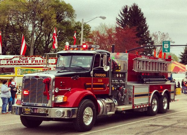 A fire truck at the Maple Festival Parade