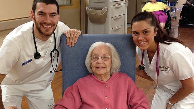 Kent State students at Burton Health Care