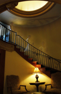 Spiral staircase in the main lobby in Punderson Manor Lodge